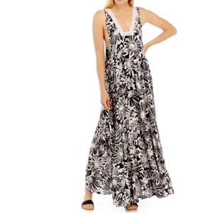 Free People Intimately Crochet Black and Pink Floral Motif Tiered Maxi Dress